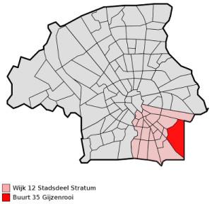 De plaats van de wijk Gijzenrooi, in het stadsdeel Stratum, in Eindhoven